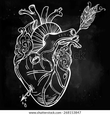 Sketched hand drawn line art beautiful human heart with arrow. El Corazon. Vintage style. Beautiful tattoo template.Isolated vector illustration. Tattoo artist design element. Chalk on chalkboard.  - stock vector