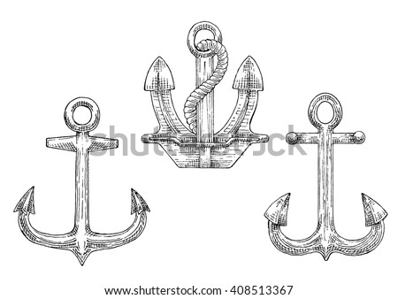 Sketched navy ship anchors symbols with stockless and admiralty anchors, decorated by twisted rope. Great for tattoo, naval heraldry or marine travel design - stock vector