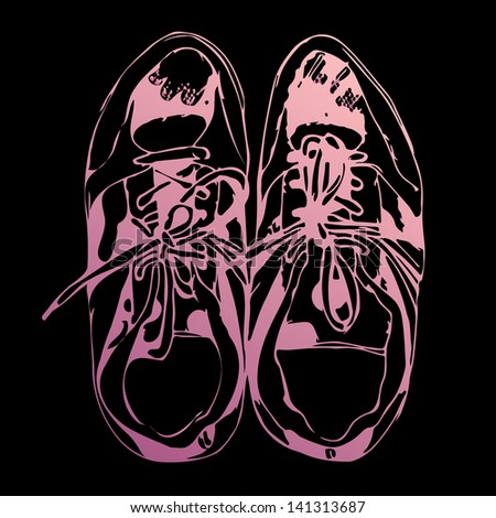 Sketched pink sport shoes on black background, vector illustration - stock vector