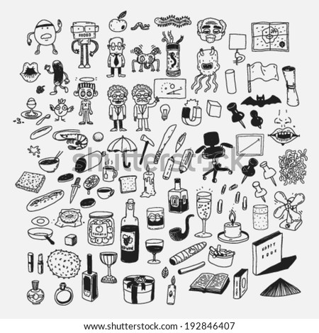sketches, doodle style cartoon icons characters and items set - stock vector