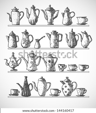 Sketches of coffee objects. Hand drawn with ink in vintage style. Vector illustration. - stock vector
