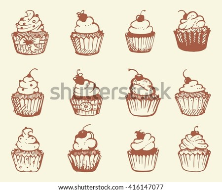 Sketches of different types of cupcakes. Vector illustration - stock vector