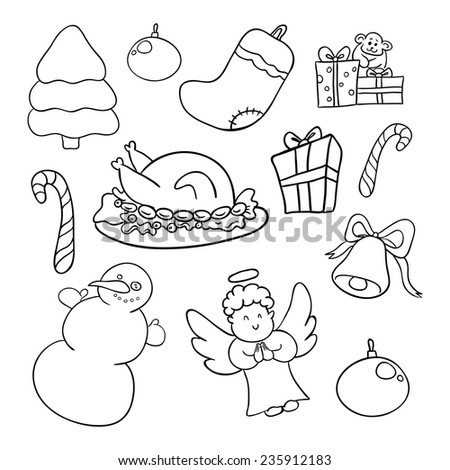 sketches of elements of Christmas: Christmas tree, gifts, candy, angel, etc. - stock vector