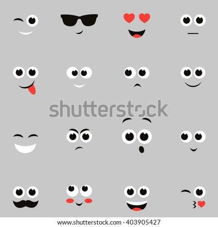 sketches of funny smiley faces - stock vector