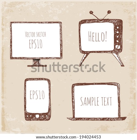 Sketches of mobile phone, old TV set, computer monitor, and notebook.  Vector illustration.  - stock vector
