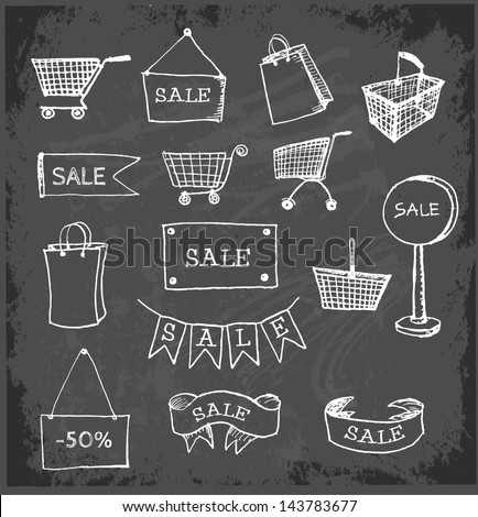 Sketches of shopping objects on blackboard.. Vector illustration. - stock vector