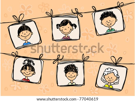 Sketches of smiling children in the abstract framework - stock vector