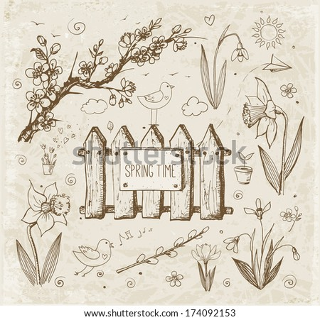 Sketches of spring objects: daffodils, crocus, pussy willow, snowdrops, birds in vintage style. Vector illustration. - stock vector