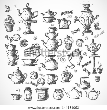 Sketches of tea objects. Hand drawn with ink in vintage style. Vector illustration. - stock vector