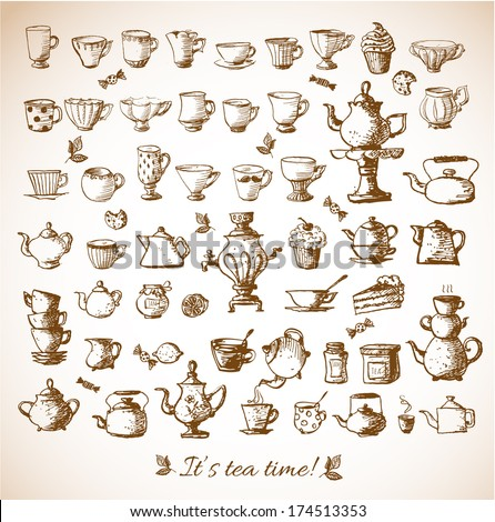 Sketches of tea objects. Hand drawn with ink.. Vector illustration.  - stock vector