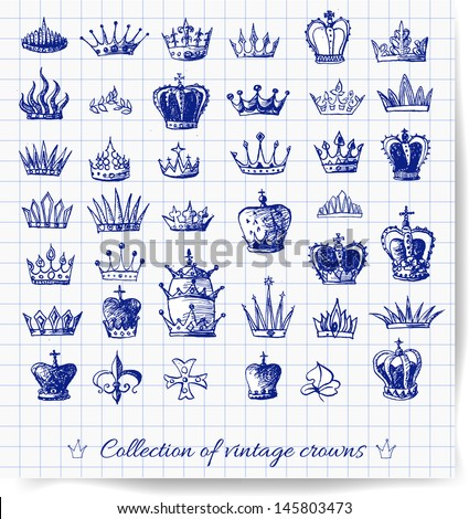 Sketches of vintage crowns on squared paper. Vector illustration.  - stock vector
