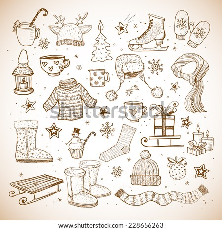 Sketches of winter elements: ugg boots, warm clothes, lantern, scarf, sleigh and others. Vector illustration in vintage style. - stock vector