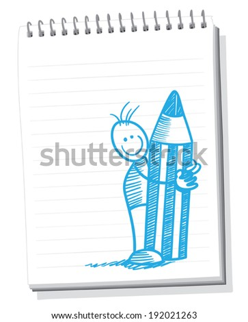 Sketching on the notepad - stock vector