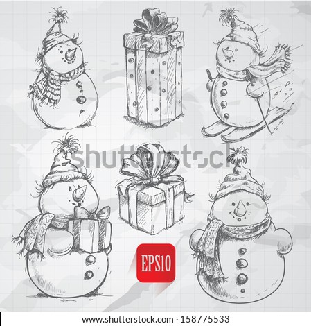 Sketching style  snowmen and christmas gift boxes doodles - stock vector