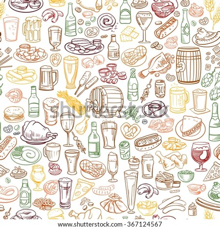 sketchy beer and snacks, seamless hand drawn illustration - stock vector