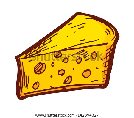 sketchy cheese isolated on white background - stock vector