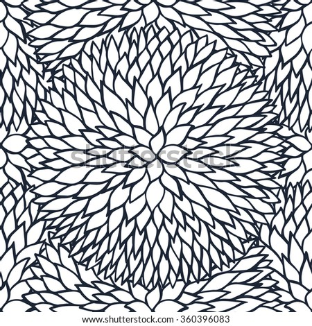 Sketchy doodle decorative daisies outline ornamental seamless pattern - stock vector