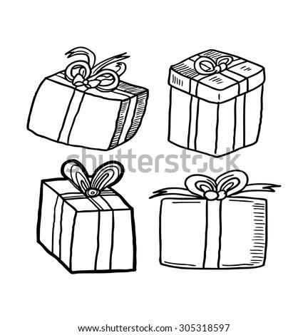 sketchy gift box - stock vector