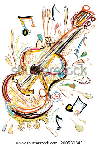 Sketchy Guitar - stock vector