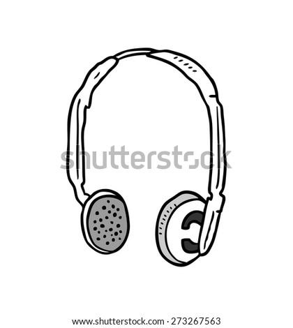 sketchy headphone - stock vector