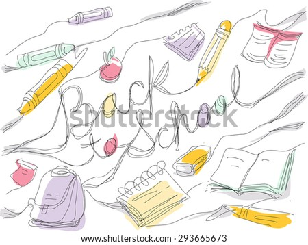 Sketchy Illustration Featuring a Back to School Text Surrounded by School Supplies - stock vector