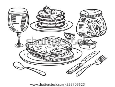 sketchy illustration of breakfast food - stock vector
