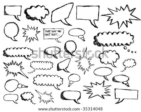 sketchy speech bubbles - stock vector