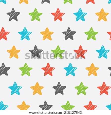 Sketchy star seamless background - stock vector