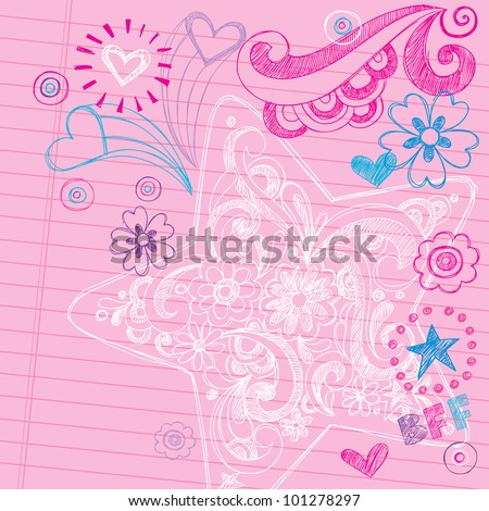 Sketchy Swirly Star Notebook Doodles - Hand-Drawn Back to School Design Elements Vector Illustration on Lined Sketchbook Paper Background - stock vector