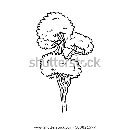 sketchy tree line art - stock vector