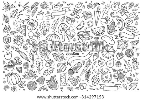 Sketchy vector hand drawn Doodle cartoon set of objects and symbols on the autumn theme - stock vector