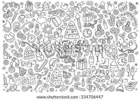 Sketchy vector hand drawn Doodle cartoon set of objects and symbols on the New Year theme - stock vector