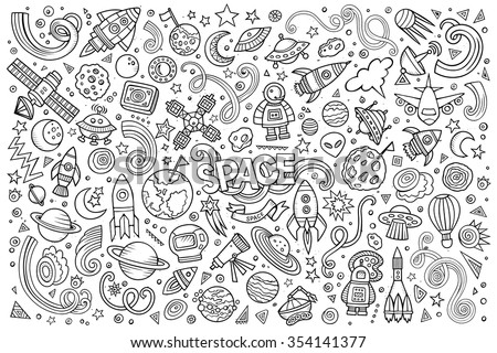 Sketchy vector hand drawn doodles cartoon set of Space objects and symbols - stock vector