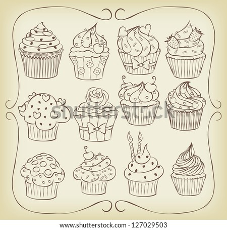 Sketchy yummy cupcakes set with frame. - stock vector