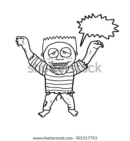 sketchy zombie isolated on white background - stock vector