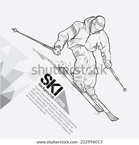 Ski background Design. Hand drawn. - stock vector