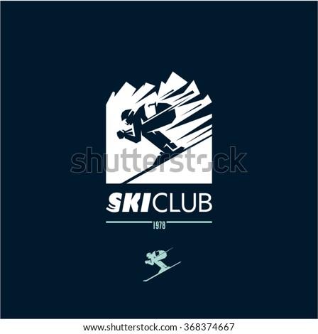 ski club logo, skier icon, skiing, mountains, winter sport - stock vector