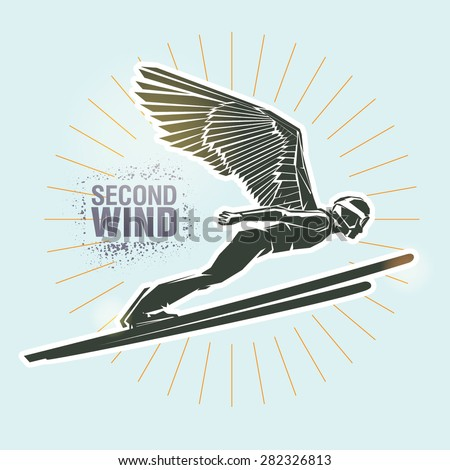 "Ski jumping. Vector illustration created in topic ""Second wind "" - stock vector"