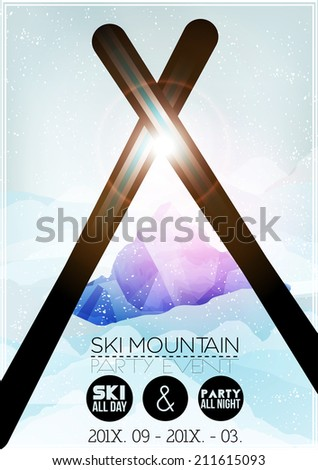 Ski Party Poster Template with Mountain in Clouds - Vector Illustration - stock vector