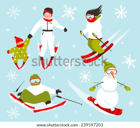 Skier Snowboarder Snowflakes Winter Sport Set. Snowboarding and skiing winter season fun sport vector. - stock vector
