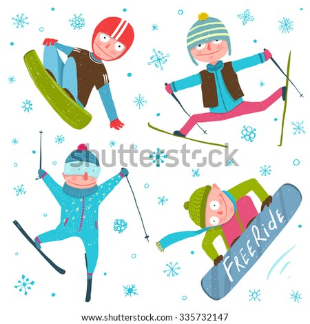 Skier Snowboarder Winter Sport Seasonal Collection with Snowflakes. Snowboarding and skiing cold season fun extreme sport vector illustration. - stock vector