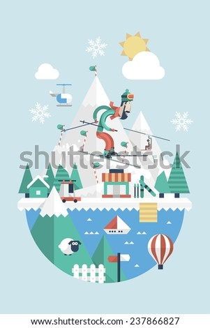 Skiing background with vector mountains - stock vector