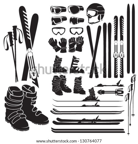 Skiing gear set - assortment of skiing eqiupment silhouette icons - stock vector
