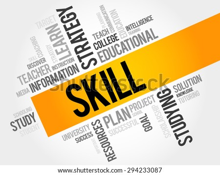SKILL word cloud, education concept - stock vector