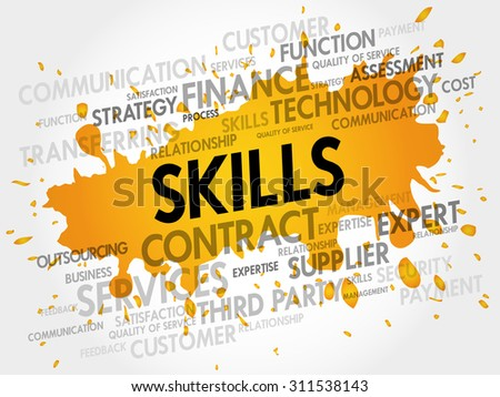Skills related items words cloud, business concept - stock vector