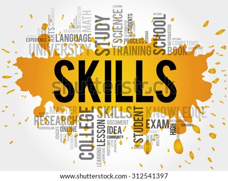 SKILLS word cloud, education concept - stock vector