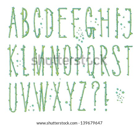 N Alphabet In Heart Skinny Bumpy Type - Tall alphabet letters with heart and star 'bumps ...