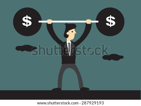 Skinny businessman lifts up heavy barbell with dollar sign. Creative cartoon vector illustration for business financial strength concept. - stock vector