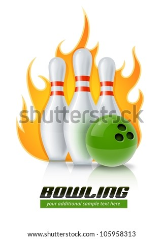 skittles and ball for bowling game vector illustration isolated on white background EPS10. Transparent objects used for shadows and lights drawing. - stock vector