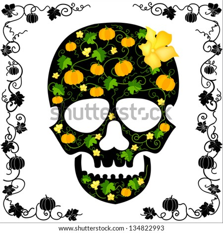 skull about flowers and pumpkins - stock vector